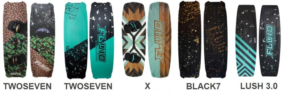 Fluid Kiteboarding boards: twoseven, x, black en lush